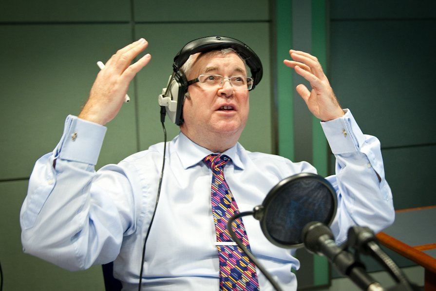 Joe Duffy does a vocal warm-up before going on air